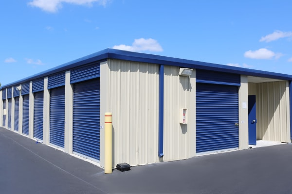 Storage units with blue doors at Midgard Self Storage in Murrells Inlet, South Carolina