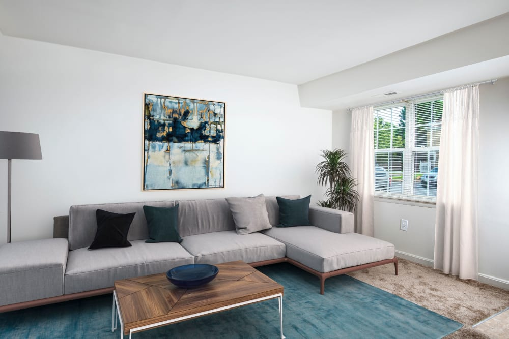 Modern Living room at Commons at White Marsh Apartments.