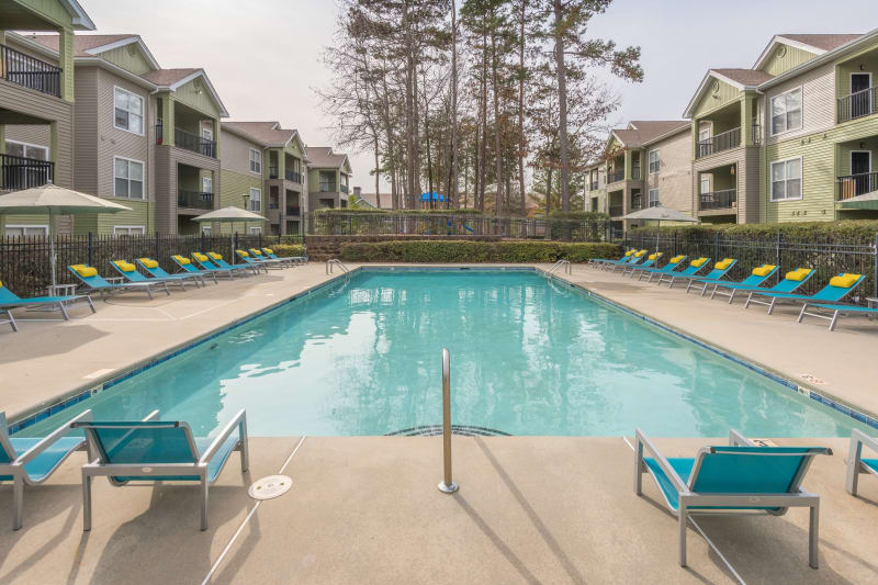 Tons of lounge chairs to layout poolside at The Madison in Charlotte, North Carolina
