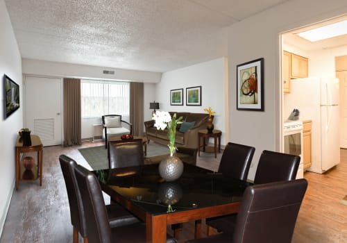 Natrually well-lit dining room at Park Guilderland Apartments in Guilderland Center, New York