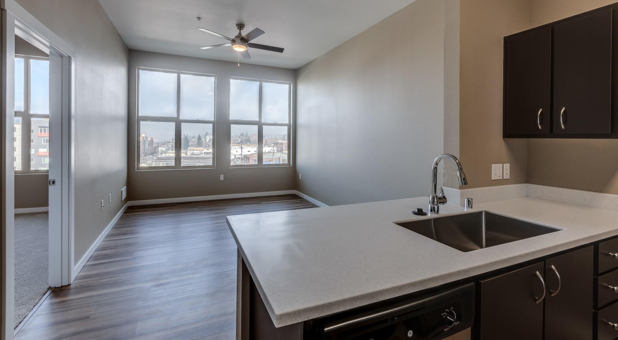 Open-concept floor plan at Lumen Apartments in Everett, Washington