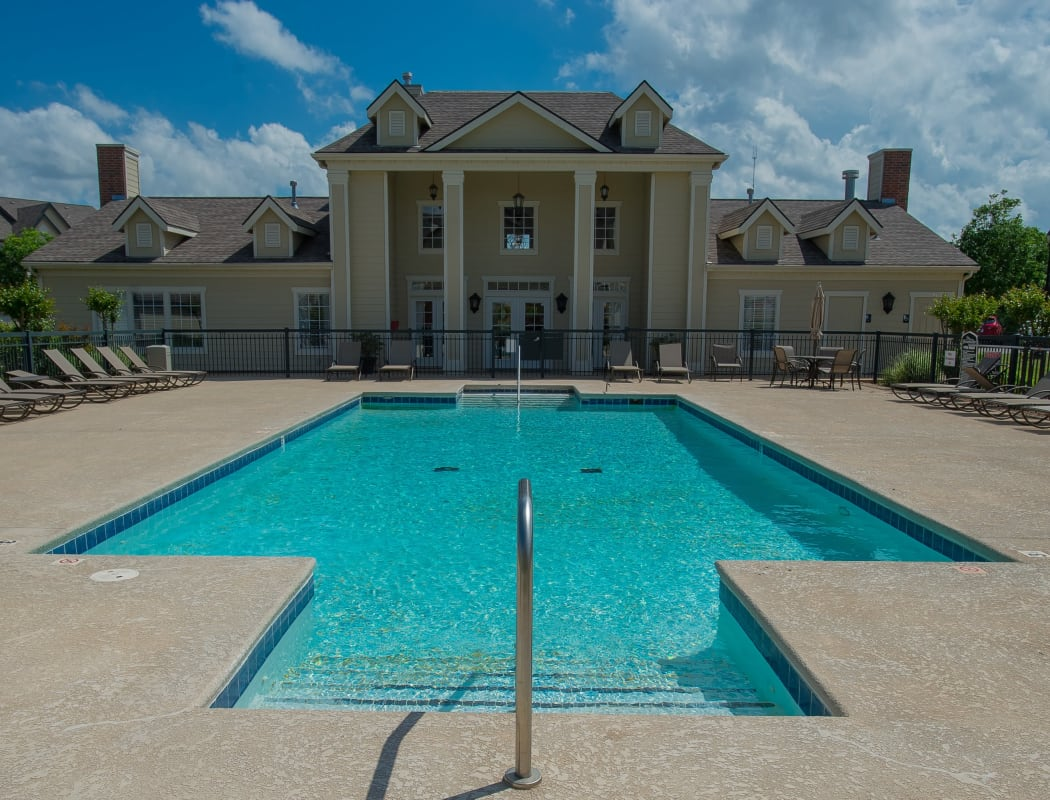 Sparkling swimming pool at Villas at Stonebridge in Edmond, Oklahoma