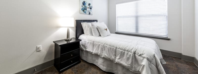 Cozy bedroom at Regents West at 26th in Austin, Texas