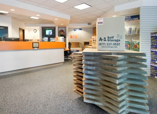 Clean front office at A-1 Self Storage in Concord, California