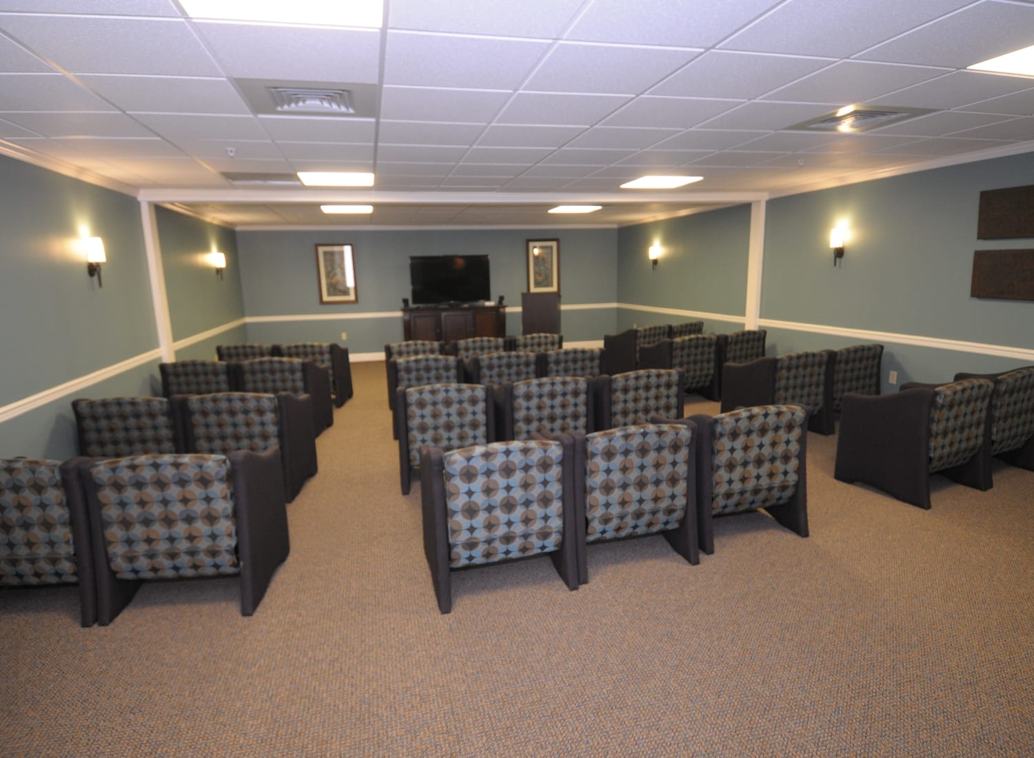 Movie room at The Birches at Newtown in Newtown, Pennsylvania