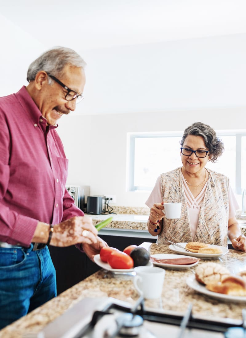 Residents cooking at Marquis at Crown Ridge in San Antonio, Texas