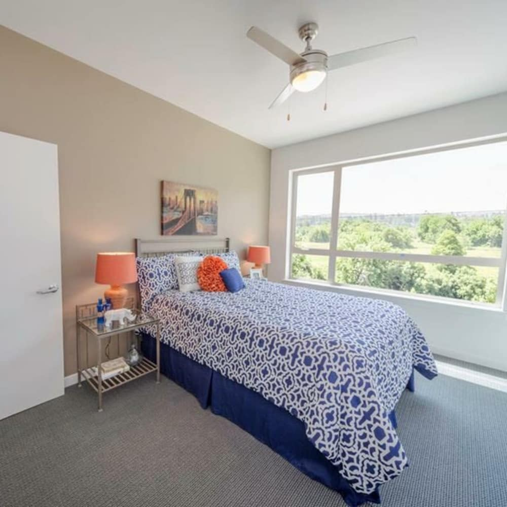 Naturally well-lit bedroom at South Block Apartments in Salem, Oregon