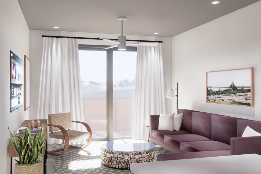 Rendering of living area of model home at The Piedmont in Tempe, Arizona