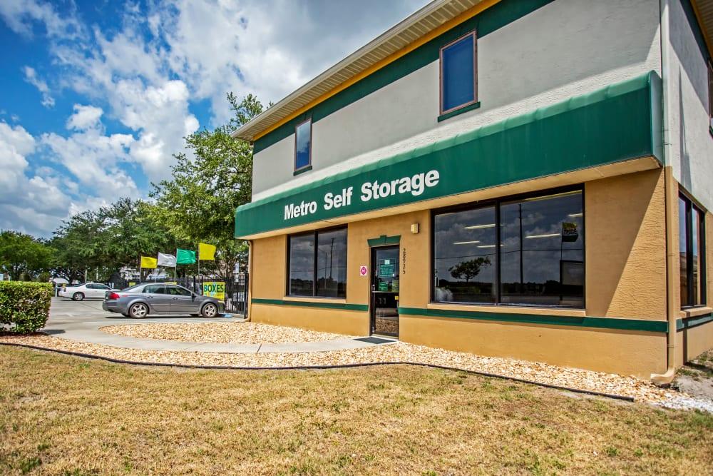 Leasing office entrance at Metro Self Storage in Wesley Chapel, Florida
