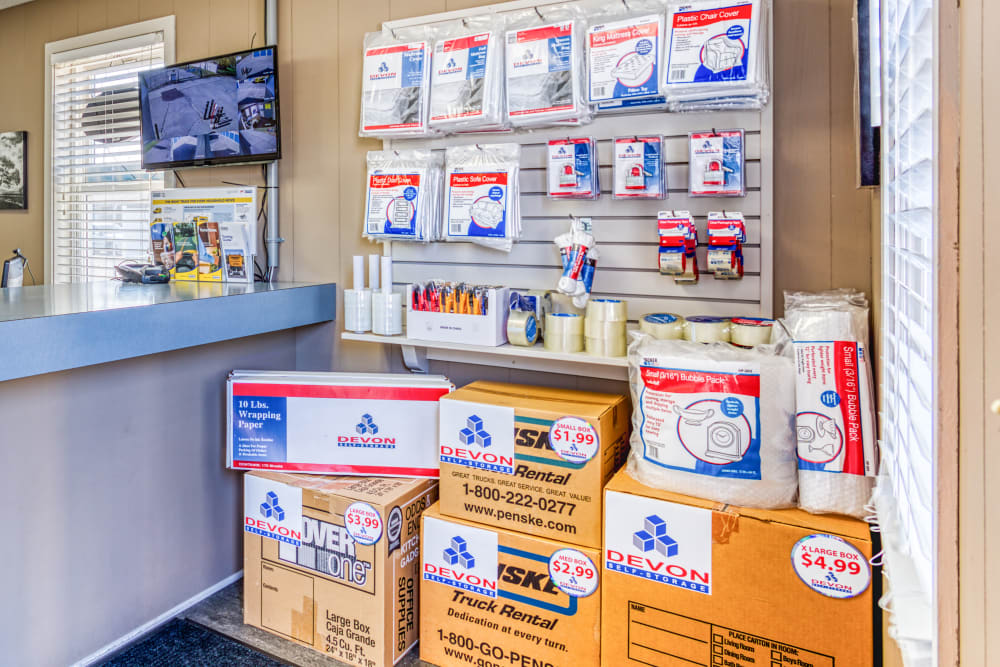 Various packing and moving supplies at Devon Self Storage in Jenison, Michigan