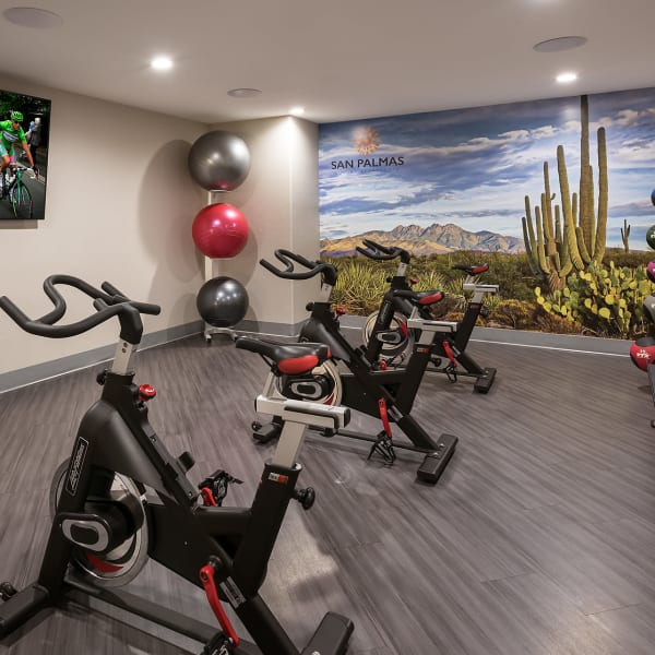 Three indoor spin bikes in gym at San Palmas in Chandler, Arizona