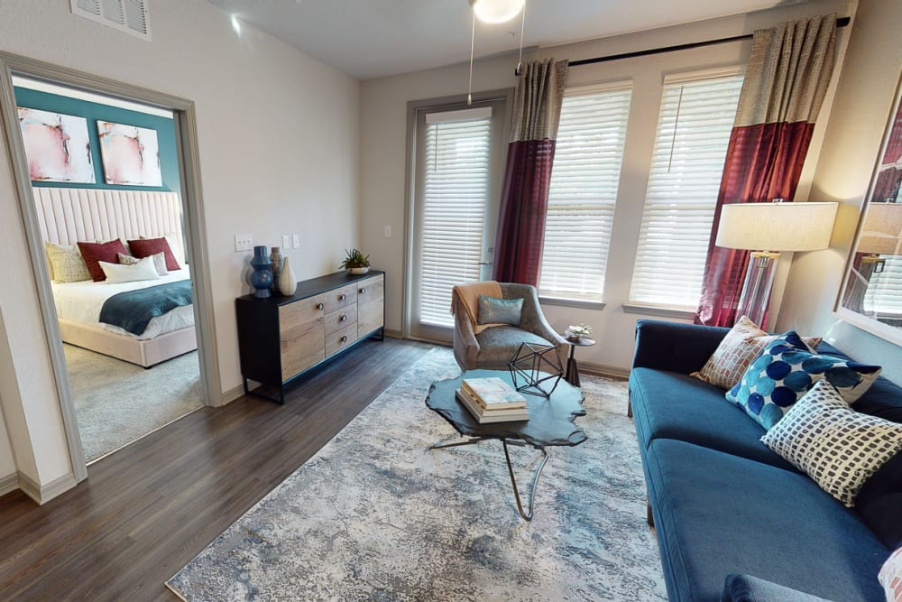 Model living room at Integra 289 Exchange in DeBary, Florida