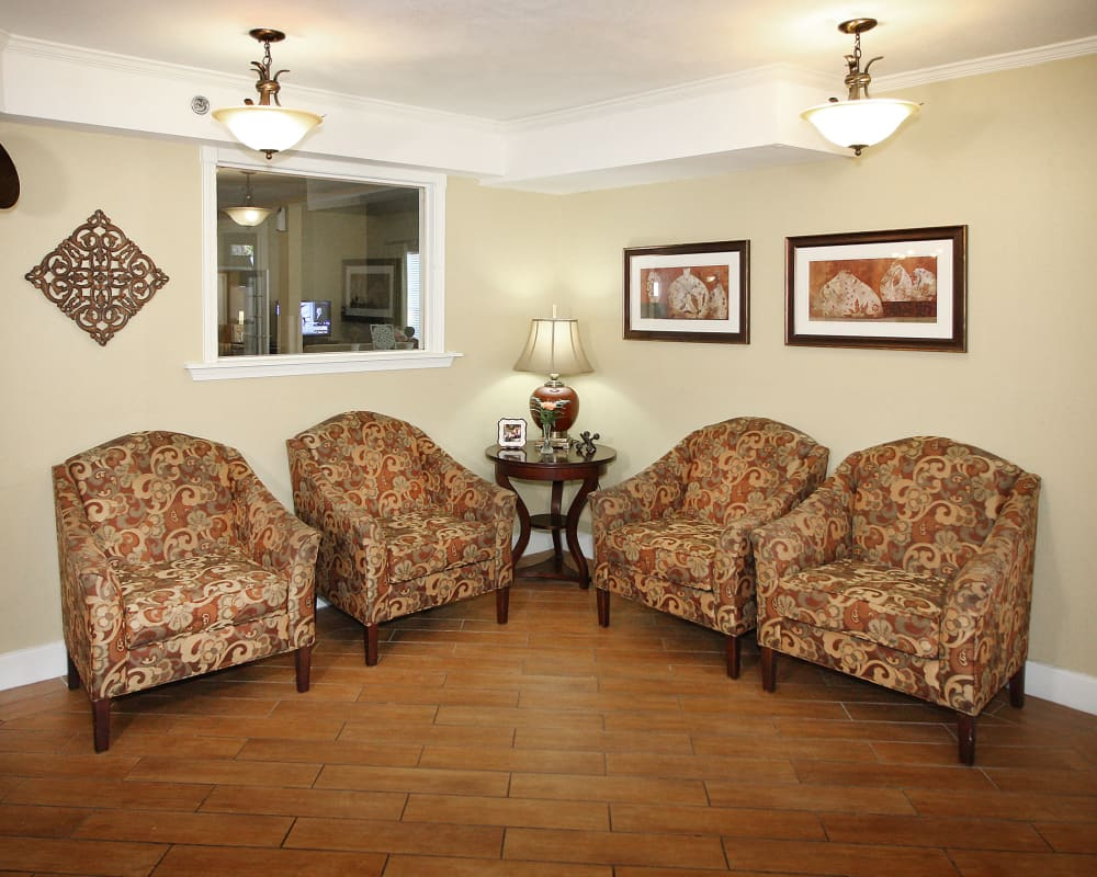 Ample seating is available at West Fork Village in Irving, Texas