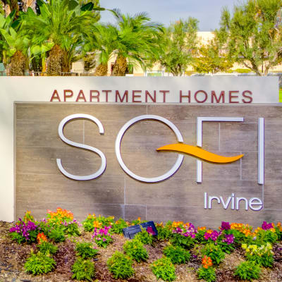Our monument sign welcoming residents home to Sofi Irvine in Irvine, California