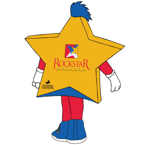 Back of Rocko the Rockstar Capital Mascot