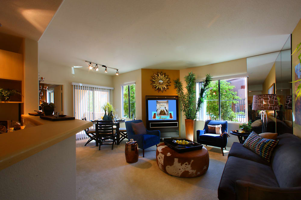Open living room layout at Sage Luxury Apartment Homes in Phoenix, Arizona