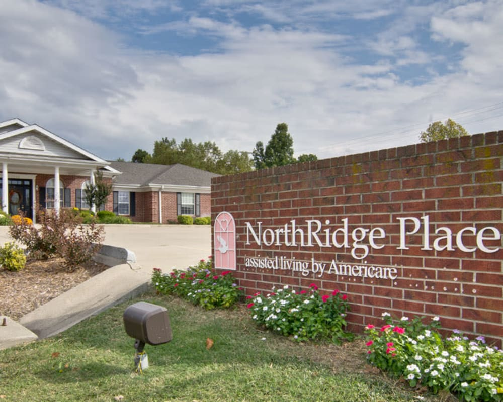 Main sign at NorthRidge Place in Lebanon, Missouri