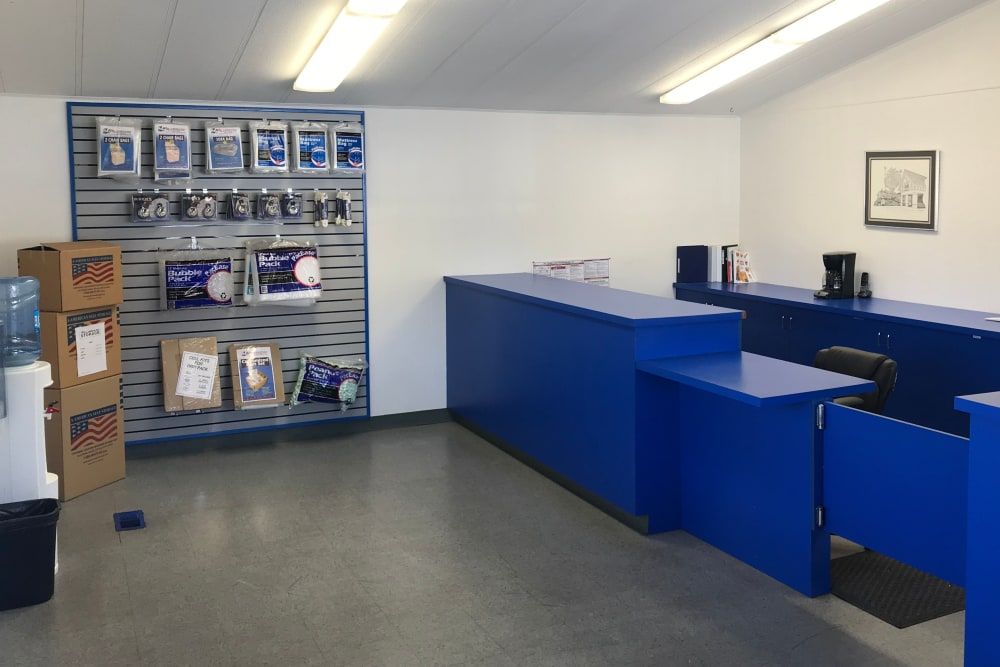 Packing supplies available in the leasing office at A-American Self Storage in Hemet, California