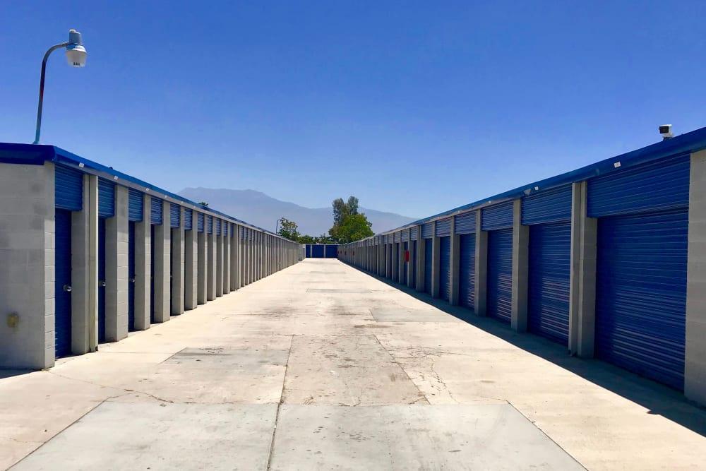 Drive-up access storage units at A-American Self Storage in Hemet, California