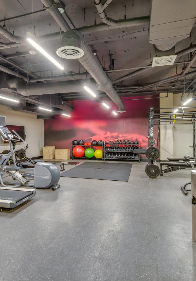 Onsite fitness center at Verse Seattle in Seattle, Washington