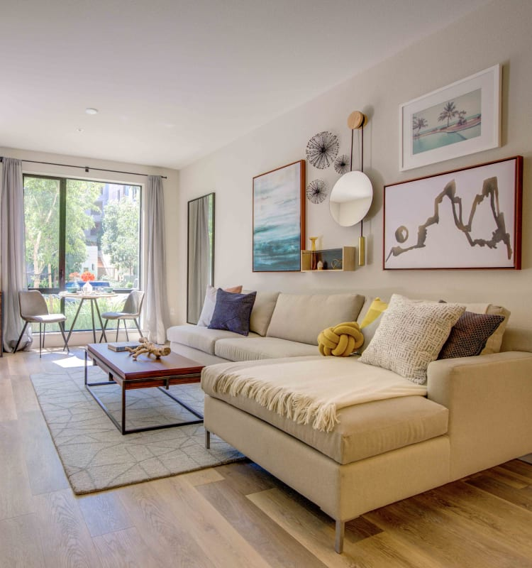 Living Room in a model home at Sofi Riverview Park in San Jose, California