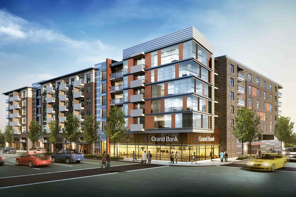 Building exterior rendering of The Boulevard in Detroit, Michigan