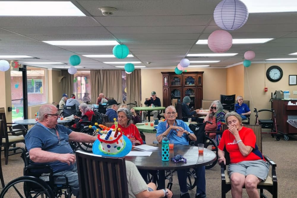Party with residents at Woodland Palms Memory Care in Tucson, AZ
