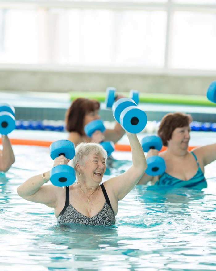 Residents exercising at The Springs at Happy Valley in Happy Valley, Oregon