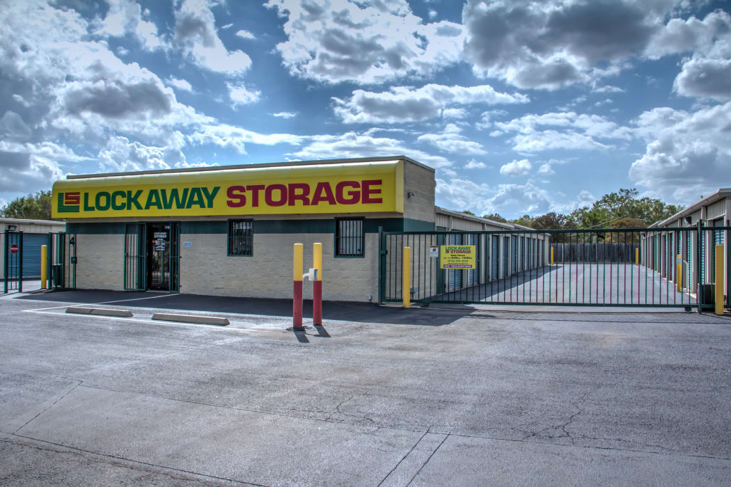 The front office and gate at Lockaway Storage in San Antonio, Texas