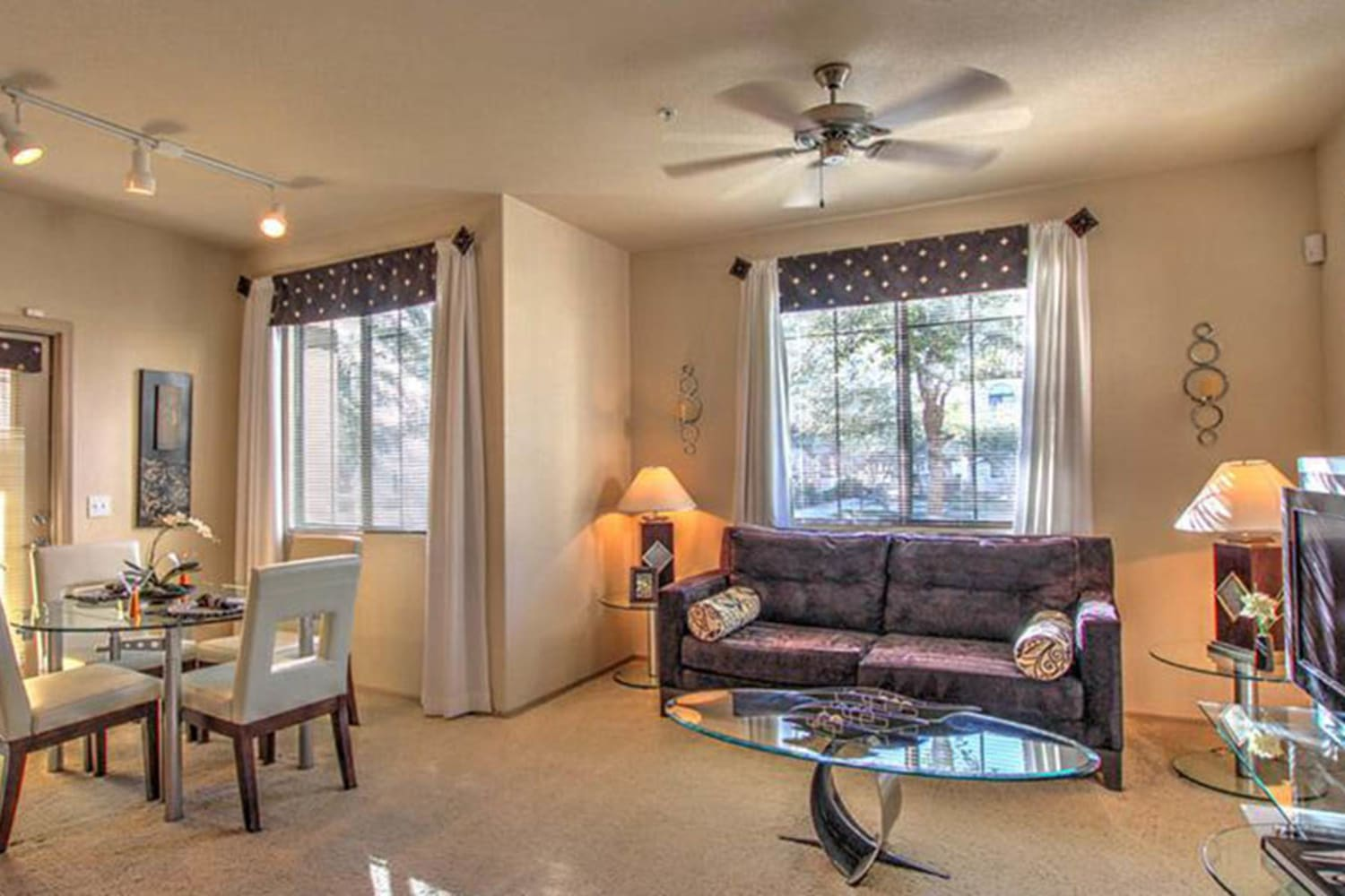 Enjoy an open and bright living room at Dobson 2222 in Chandler, Arizona