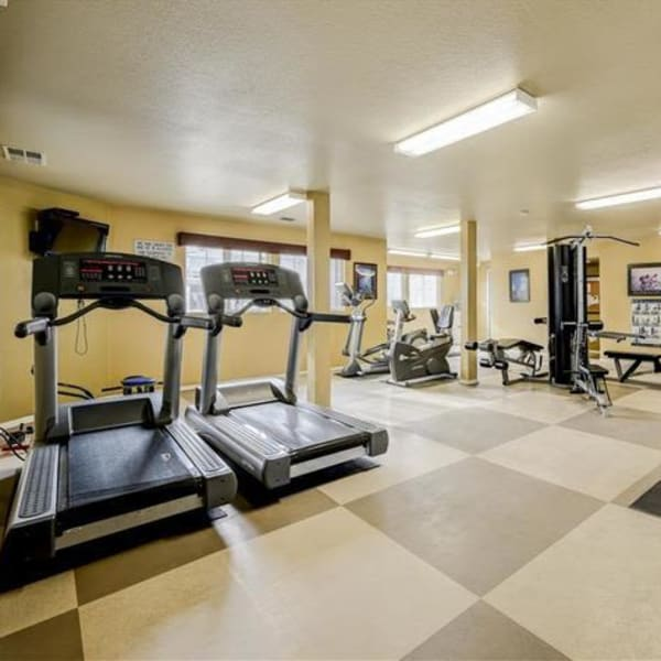 Resident fitness center with treadmills at Northwind Apartments in Reno, Nevada