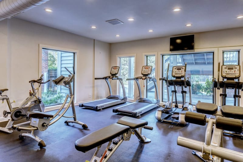 Plenty of treadmills in the fitness center at Lyric on Bell in Antioch, Tennessee