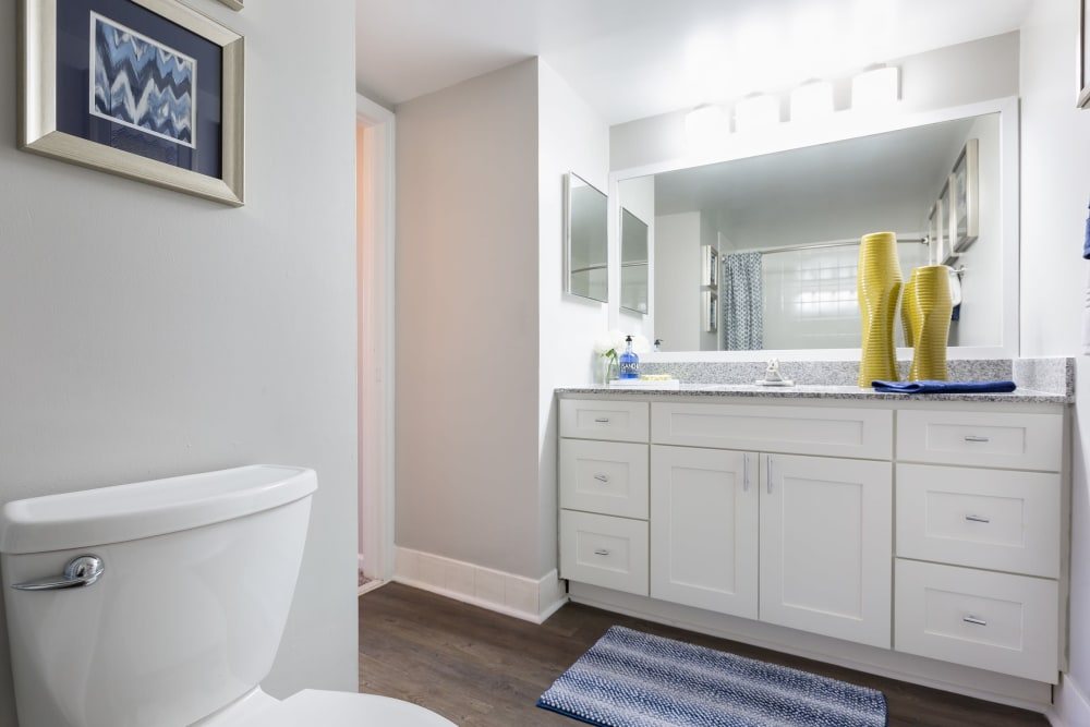 Roomy bathroom with lots of storage space under the large vanity at Beach Walk at Sheridan in Dania Beach, Florida