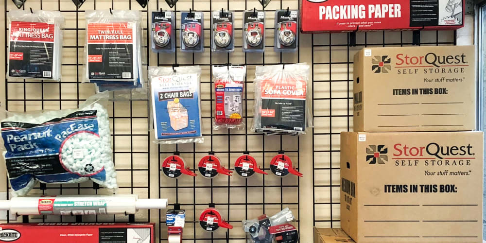 Packing supplies available at StorQuest Self Storage in Madison, Wisconsin