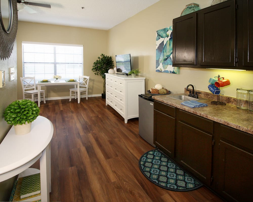 Model studio floor plan at West Fork Village in Irving, Texas
