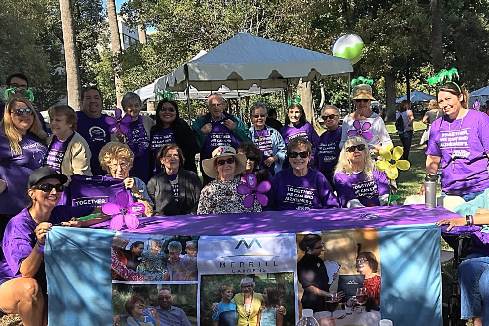 Residents and The Pines team supporting the Walk to End Alzheimer's near The Pines, A Merrill Gardens Community in Rocklin, California.