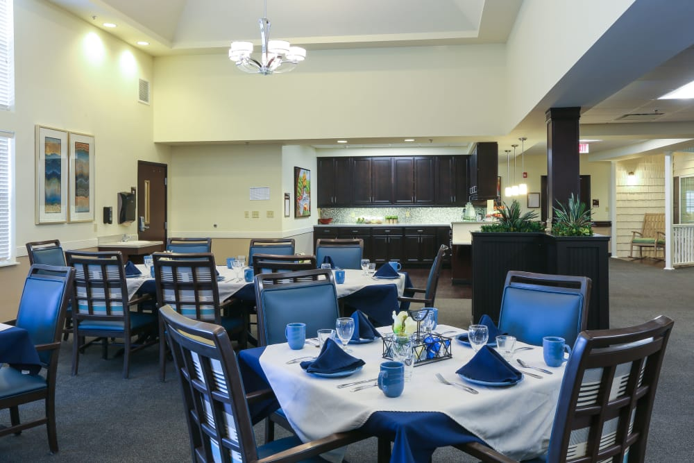 Decorated dining room tables at Orchard Grove Health Campus in Romeo, Michigan