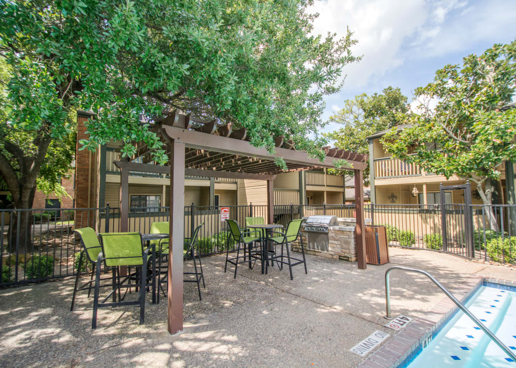 Resident patio at Stonecrossing of Westchase in Houston, Texas.