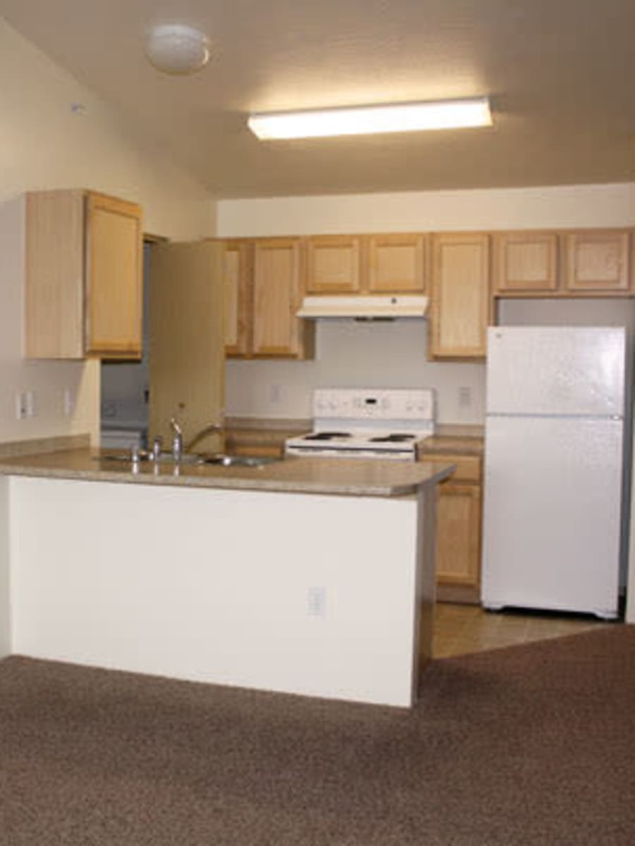 Well equipped kitchen at River Rock Apartments in Spokane Valley, WA
