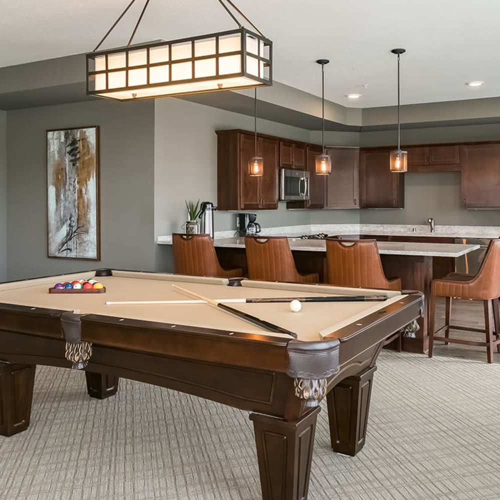 Game room at an Applewood Pointe community.