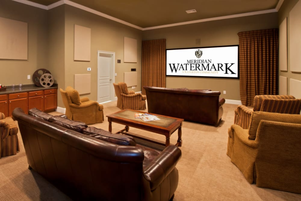 A spacious theater with comfortable seating at Meridian Watermark in North Chesterfield, Virginia