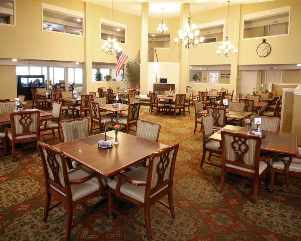 Dining room for our residents at West Fork Village in Irving, Texas
