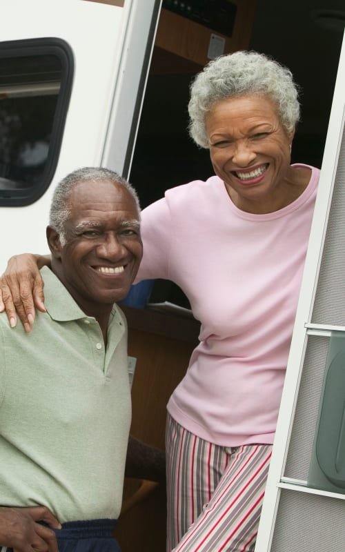 A couple in their RV that they store at Canby RV & Boat Storage in Canby, Oregon