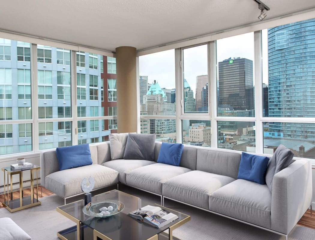 Check out the amazing view  of the city right from the living room or bedroom in your apartment style home at Metropolitan Towers in Vancouver, British Columbia