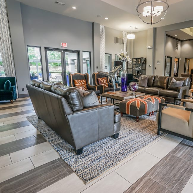 Well-decorated living room in model home at Beck at Wells Branch in Austin, Texas