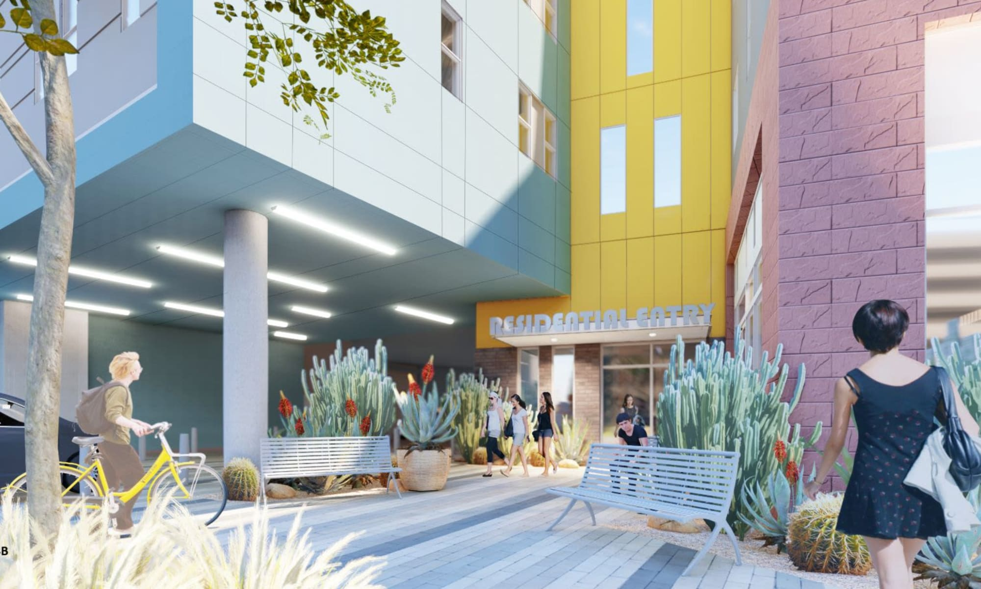 Rendering of the exterior entrance of The Piedmont in Tempe, Arizona