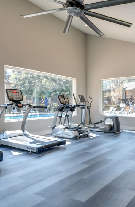 Newly Renovated Fitness Center with Large Windows Overlooking the Pool Area at Terra Nova Villas in Chula Vista