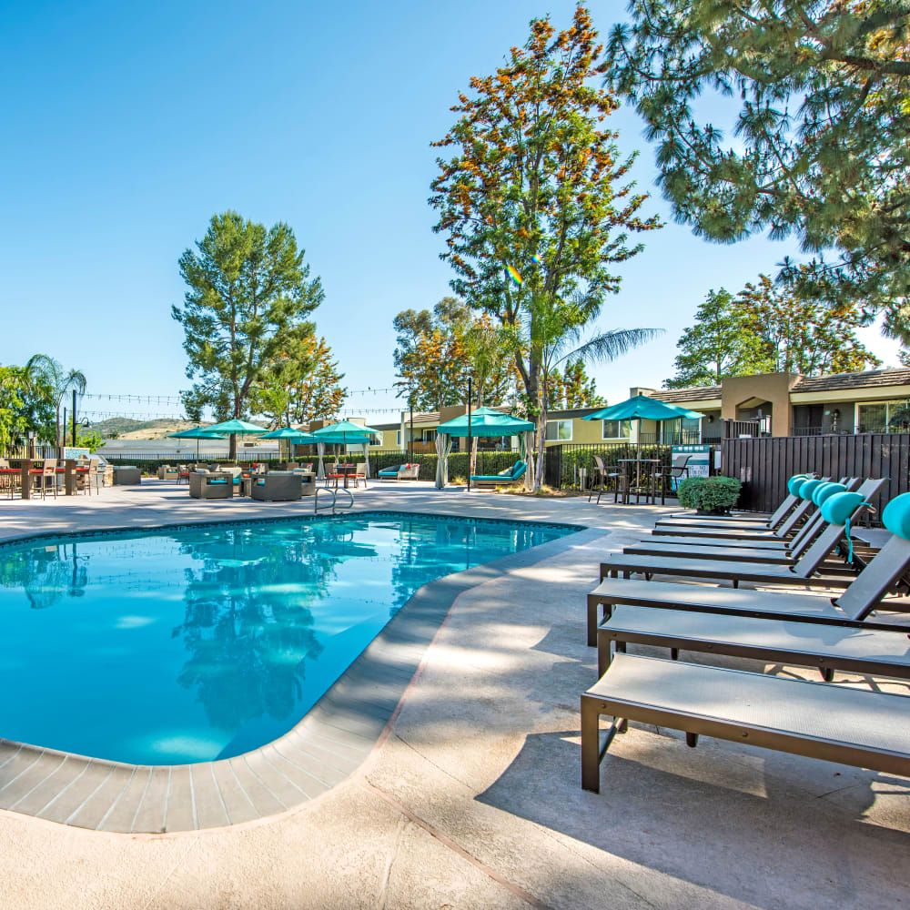 Beautiful resort-style swimming pool at Sofi Poway in Poway, California