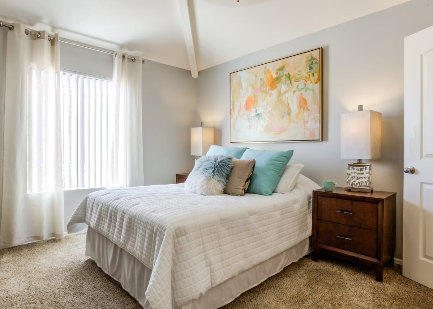 A view of the bedroom at CentrePoint Apartments