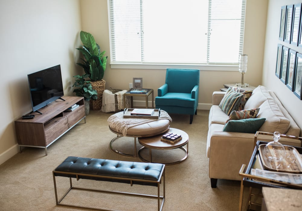 A living room in an assisted living apartment at Touchmark at All Saints in Sioux Falls, South Dakota